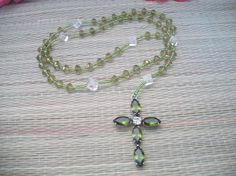 green glass Rosary beads handmade Rosary olive by ALEXLITTLETHINGS, $22.00