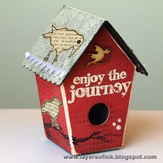 Anna-Karin as Layers of ink - Picket Fence Birdhouse using Eileen Hull's Sizzix Picket Fence collection and TH stamps; June 2013