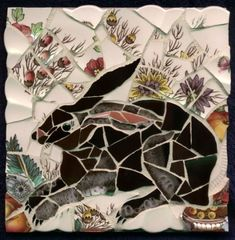 """LITTLE RABBIT  Plenty of rabbits abound in my Martha's Vineyard garden. This mosaic measures 8""""x8"""".      < Previous  Next >    Home - Mosaics - Mosaic Installations - Residencies and Workshops - Jenifer Strachan - Contact"""