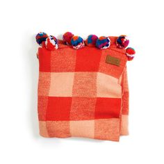 Kip & Co   Baby Tartan Pom Pom Blanket