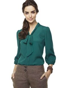 Bow Blouse from the Limited Emerald green $54.90
