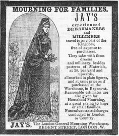 Victorian Era Ad for Mourning Dressmaking and Millinery Services.