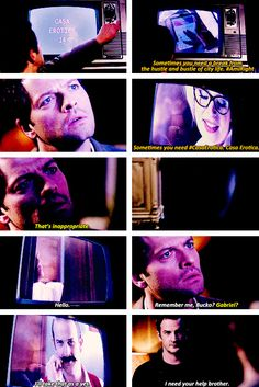 [gifset] 9x18 Meta Fiction. The second Cas a Erotica came up I just knew it was Gabriel