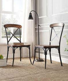 HomeBelle Bosworth Rustic Dining Chair - Set of Two   zulily