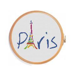 Paris-Eiffelturm - Muster Kreuz Stich sofort-Download blue Frankreich Nationalstolz Patriotismus wunderbare Abenteuer unvergessliche Reise