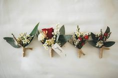 Groom boutonnieres and buttonholes, marsala/oxblood and dark green hues, with a vintage-rustic and natural feel   Lucia & Engleman    Dunbar House, Watsons Bay Sydney