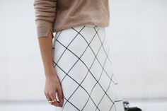 This windowpane print black and white skirt