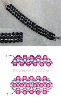 Greatest Seed Bead Jewellery 2017 - Free sample for beaded bracelet Black Pearl - Jewelry Bead Jewellery, Seed Bead Jewelry, Jewellery 2017, Jewelry Necklaces, Beading Jewelry, Diamond Jewellery, Jewellery Making, Jewelry Making Tutorials, Beading Tutorials