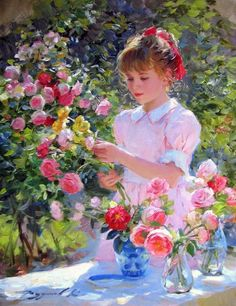 Kai Fine Art is an art website, shows painting and illustration works all over the world. Art Floral, Paintings I Love, Beautiful Paintings, Victorian Paintings, Foto Art, Flower Art, Painting & Drawing, Vintage Art, Art For Kids
