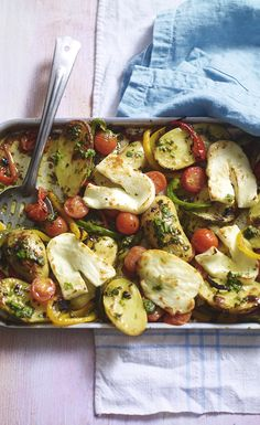 Mediterranean roasted halloumi with basil dressing – one of your five a day and rich in vitamin C.