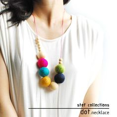 Felt Balls Necklace. Colourful Necklace. Wooden by StefCollections, $19.99