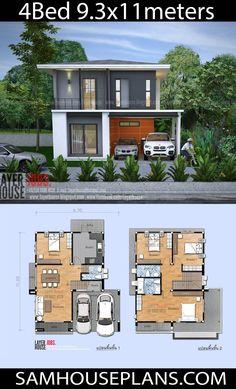 Duplex House Plans, Bedroom House Plans, New House Plans, House Floor Plans, Two Story House Design, 2 Storey House Design, Simple House Plans, Simple House Design, Double Storey House Plans