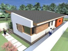One story house plans. Modern house plans with 1 story building Small Modern House Plans, House Plans And More, Modern House Design, Modern Houses, Modern Courtyard, Courtyard House Plans, One Bedroom House Plans, Story House, Design Case
