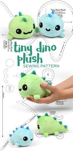Tiny dino plush sewing pattern by SewDesuNe - Stofftiere nähen - Plush Sewing Stuffed Animals, Stuffed Animal Patterns, Sewing Patterns Free, Free Sewing, Free Pattern, Pattern Ideas, Felt Patterns Free, Knitting Patterns, Knitting Toys