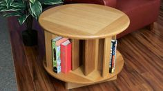 Every reading nook needs a comfortable seat and a place to set a book. But when I remodeled my home library, I went one step further: As a special finishing touch, I built this spinning end table that stores a lot of books of varying sizes, making it easy to grab just the right one while sitting in a comfy chair.