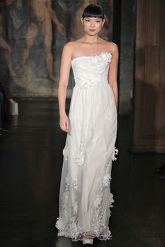 Strapless cotton empire gown with silk ribbon chrysanthemums on tulle.