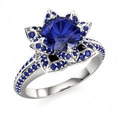 14k White Gold GP 925 Silver Rd Blue Sapphire Disney Princess Flower Ring 5 6 7…