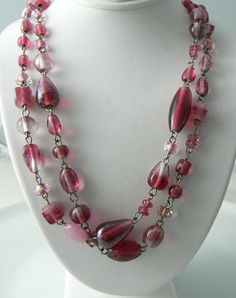 Vintage 2 Strand Purple Givre Murano Glass Necklace - Vintage Lane Jewelry - 2
