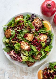 Pomegranate Halloumi Salad with Spiced Orange Vinaigrette A pomegranate halloumi salad that's the perfect starter to your holiday meal! Drizzle with a spiced orange vinaigrette for the most festive flavor ever. Fried Halloumi, Pomegranate Recipes, Pomegranate Salad, Simple Green Salad, Roasted Walnuts, Vegetarian Recipes, Healthy Recipes, Diet And Nutrition, Health Foods