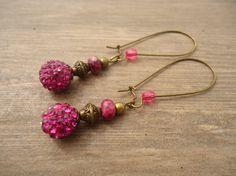 Boucles avec perles semi-précieuses de jade océanique forme boulier et perles strass
