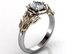 14k three tone white, rose and yellow gold diamond unusual floral engagement ring, bridal ring, wedding ring ER-1061-6. on Wanelo