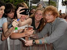 Ed Sheeran takes a selfie with fans on the red carpet ahead of the 29th Annual ARIA Awards 2015 in Sydney.   Mark Metcalfe, Getty Images