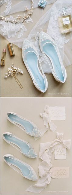 Pearl Wedding Flats with scallop Beading Bridal flats - wedding shoes with 'Something Blue' Bella Belle Hailey