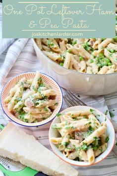 This One Pot Leftover Ham And Pea Pasta Makes Quick And Easy, Midweek Family Meal With Minimum Effort. Delectable Way Of Putting Leftovers To A Good Use. Via Joskitchenlarder Leftovers Recipes, Easy Dinner Recipes, Pasta Recipes, Great Recipes, Noodle Recipes, Fall Recipes, Yummy Recipes, Vegetarian Recipes, Pot Pasta