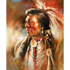 Indios Portraiture Western Indians Oil Paingtings 100% Handmade Oil Painting for sale on overArts.com