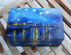 Wooden Keepsake Box Starry Night over the by allabouthandicraft Painted Wooden Boxes, Wooden Storage Boxes, Wooden Crates, Wood Boxes, Wooden Keepsake Box, Keepsake Boxes, Acrylic Paint On Wood, Painting On Wood, Wood Box Centerpiece