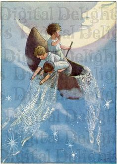 "Two Vintage 1918 Margaret Tarrant Childrens Colour Prints. "" Wynken, Blyken and Nod"" and ""The Land of Story Books"". Art And Illustration, Book Illustrations, Vintage Nursery, Vintage Art, Fantasy Kunst, Fantasy Art, Moon Art, Art Plastique, Nursery Rhymes"