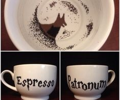 Be sure to get your patronus charge with this hand painted cappuccino mug (18 oz.), but beware because it is marked with the sign of the Grim. Don't let the muggles stop you from adding this charm to your collection!