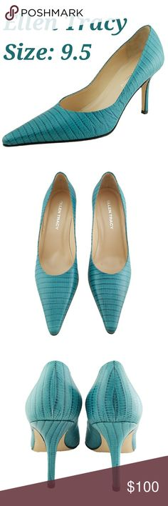Teal Lizard Mint Condition Ellen Tracy Heels.  Beautiful Pumps No issues! Ellen Tracy Shoes Heels