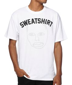 """Make sure your style stands out with the reflective Earl Sweatshirt face graphic at the front with """"Sweatshirt"""" lettering printed above. Earl Sweatshirt, Graphic Prints, Surface, Lettering, Tees, Sweatshirts, Clothing, Mens Tops, How To Wear"""