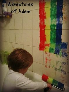 Rainbow Bath Tub Painting – Day 90 Toddler Play Challenge