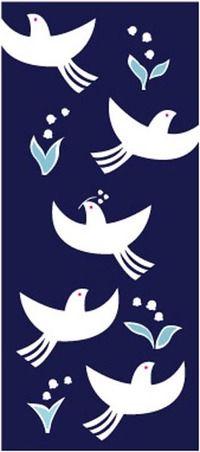 【カランコロン京都】手ぬぐい「鳥とすずらん」◎【楽ギフ_包装】【楽ギフ_のし宛書】