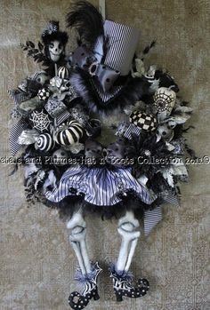 """Another pinner advised: """"This was one of my Personal Favorites...I made all of the pieces from the Hat, bones, outfit and shoes..    Halloween Wreath-The Ultimate Skeleton Diva - Halloween Hat n' Boots Collection©"""""""