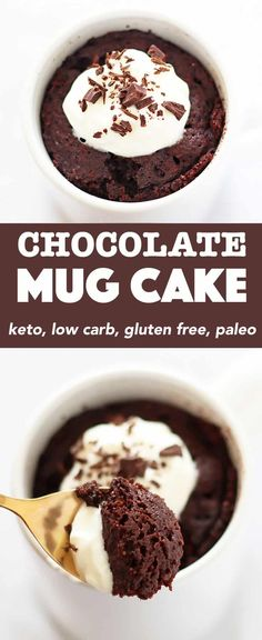This Keto Chocolate Mug Cake makes an incredible treat whenever your sweet tooth needs a fix. This recipe is made with coconut flour; it's gluten free and paleo. And best of all, you can stir up this low carb chocolate mug cake and enjoy it in under 5 minutes! #keto #chocolatemugcake #lowcarb #mugcake Desserts | Sweets | Healthy | Clean Eating Microwave | Grain free | Flourless | Easy | Unsweetened cocoa | Almond Milk | Baking | Maple Syrup