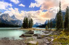 Canadian Rockies Maligne Lake and Spirit by KingWuPhotography