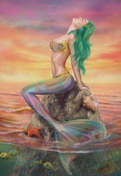 Beautiful fantasy Mermaid At Sunset by AlenaLazareva on DeviantArt Mermaid Poster, Mermaid Artwork, Mermaid Drawings, Mermaid Tattoos, Mermaid Paintings, Drawings Of Mermaids, Images Of Mermaids, Mermaid Images, Mermaid Pictures