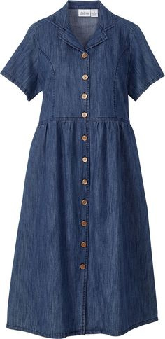 A must-have for the classic woman: A traditional denim dress. So feminine and so pretty with a straw hat, a scarf and espadrilles or flats.   Womens 'On the Go Denim Dress' Button-front blue denim dress. Notched collar, short sleeves, princess seamed bodice. Gently gathered A-line skirt, side seam pockets, below the knee length. 100% cotton.