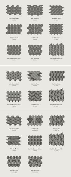 Dwell Patterns - Heath Ceramics - Little Diamond, tile patterns and layout Kitchen Floor Tile Patterns, Kitchen Tiles, Kitchen Flooring, Room Tiles, Kitchen Wood, Kitchen Design, Ceramic Flooring, Tile Wood, Wooden Wall Decor
