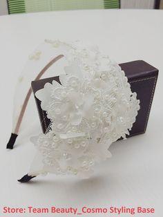 Contas de cristal de alta qualidade e de pérolas headband do véu de noiva hairbands acessórios de cabelo festa de casamento 17.99
