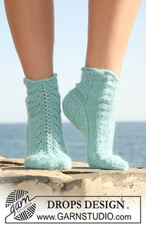 """Knitted DROPS socks in """"Alpaca"""" with lace pattern on upper foot. Size 35 to - Free pattern by DROPS Design Lace Socks, Knitted Slippers, Wool Socks, Crochet Slippers, Lace Knitting, Knitting Socks, Knitting Patterns Free, Free Pattern, Finger Knitting"""