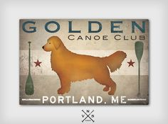 LAKE COTTAGE Dog Golden Retriever CUSTOM Personalized  Stretched Canvas Wall Art 20x30x1.5 Signed Ready to Hang