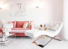 White tufted chaise lounge next to blush pink sofa via Sydne Summer
