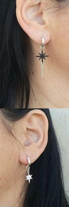 Asymmetric Sterling Silver Hoop Earrings, Star Hoop Earrings, Black An Sterling Silver Hoops, Silver Hoop Earrings, Silver Jewelry, Jewlery, Birthday Gifts For Best Friend, Best Friend Gifts, Delicate Jewelry, Bohemian Jewelry, Winter Holidays