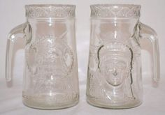 Set of 2 Vintage 1985 Anchor Hocking Statue of Liberty Clear Glass Mugs #AnchorHocking
