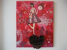 Valentines Day Girl Art OOAK Mixed Media Original by CarlasCraft, $75.00