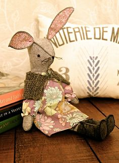 Felt and fabric bunny, Miss Maggie Rabbit.  You can make her, too!...designed by Alicia Paulson, rosylittlethings.com